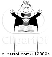 Cartoon Of A Black And White Excited Priest At The Pulpit Vector Clipart