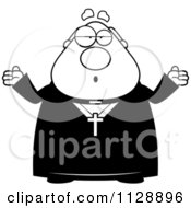 Cartoon Of A Black And White Careless Shrugging Priest Vector Clipart