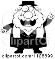 Cartoon Of A Black And White Rabbi With An Idea Vector Clipart by Cory Thoman