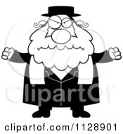 Cartoon Of A Black And White Angry Rabbi Vector Clipart by Cory Thoman