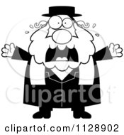 Cartoon Of A Black And White Frightened Rabbi Vector Clipart by Cory Thoman