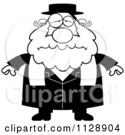 Cartoon Of A Black And White Depressed Rabbi Vector Clipart by Cory Thoman