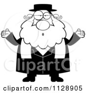 Cartoon Of A Black And White Careless Shrugging Rabbi Vector Clipart by Cory Thoman
