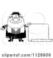 Cartoon Of A Black And White Rabbi With A Sign Vector Clipart by Cory Thoman