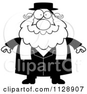 Cartoon Of A Black And White Happy Rabbi Vector Clipart by Cory Thoman