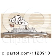Clipart Of A Woodcut Of The USS Merrimac Ship Royalty Free Vector Illustration