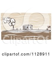Clipart Of A Woodcut Of The USS Monitor Ship Royalty Free Vector Illustration