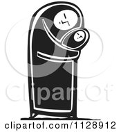 Clipart Of A Woodcut Of A Woman Hugging A Baby In Black And White Royalty Free Vector Illustration