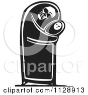 Clipart Of A Woodcut Of A Skeleton Hugging A Baby In Black And White Royalty Free Vector Illustration