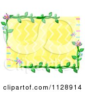 Frame Of Flowers And Insects Around Yellow And Zig Zags