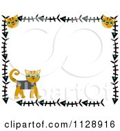 Cartoon Of A Cat Border With Kittens And Fish Bones Royalty Free Vector Clipart by bpearth