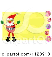 Santa On A Yellow Background With Swirls