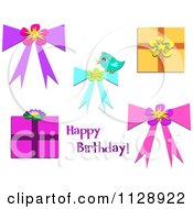 Cartoon Of Happy Birthday Text With Gifts And Bows Royalty Free Vector Clipart by bpearth