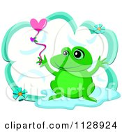 Cute Frog With A Heart Balloon Over A Cloud