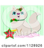 Cute Cat Sitting With A Christmas Star Over Green