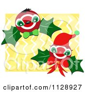 Christmas Holly Berries Over Zig Zags On Yellow