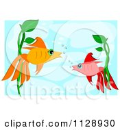 Cartoon Of Two Talking Fish Underwater Royalty Free Vector Clipart by bpearth