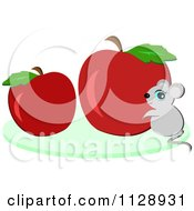 Cute Mouse With Red Apples