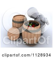 Clipart Of A 3d Halloween White Character Bobbing For Apples And Eyeballs Royalty Free CGI Illustration
