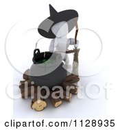 Clipart Of A 3d White Character Halloween Witch By A Cauldron Royalty Free CGI Illustration by KJ Pargeter