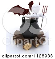 Clipart Of A 3d White Character Devil By A Halloween Cauldron Royalty Free CGI Illustration by KJ Pargeter