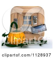 Clipart Of A 3d Halloween Jackolantern Pumpkin By A Door With A Knob Sign Royalty Free CGI Illustration by KJ Pargeter