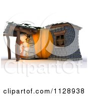 Clipart Of A 3d White Character In A Pumpkin Home Royalty Free CGI Illustration