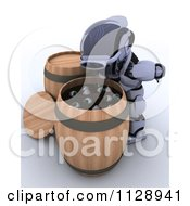 Clipart Of A 3d Halloween Robot Bobbing For Eyeballs Royalty Free CGI Illustration