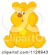 Cartoon Of A Cute Chubby Golden Hamster Holding Wheat Royalty Free Clipart by Alex Bannykh