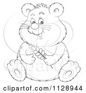 Cartoon Of An Outlined Cute Chubby Hamster Holding Wheat Royalty Free Clipart by Alex Bannykh