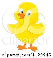 Cartoon Of A Cute Yellow Chick Looking To The Side Royalty Free Clipart