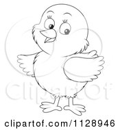 Cartoon Of An Outlined Cute Chick Looking To The Side Royalty Free Clipart