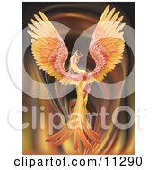 Majestic Phoenix Firebird Stretching Its Wings Over A Fiery Background Clipart Illustration