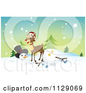 Reindeer Knocking Over A Snowman