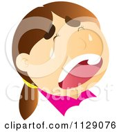 Cartoon Of A Crying Girls Face Royalty Free Vector Clipart