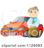 Cartoon Of A Man Standing Beside A Red Car Royalty Free Vector Clipart
