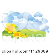 Landscape With Flowers Hills And Clouds