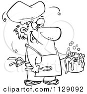 Cartoon Of An Outlined Stinky Chef Serving A Gross Stew Royalty Free Vector Clipart