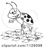 Cartoon Of An Outlined Ladybug Jumping Over Numbers Royalty Free Vector Clipart