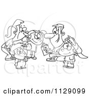 Cartoon Of An Outlined Huddling Family Going Over A Football Play Book Royalty Free Vector Clipart