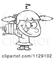 Cartoon Of An Outlined Girl Trying To Guess A Gift Royalty Free Vector Clipart