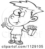 Cartoon Of An Outlined Happy Boy Eating French Fries Royalty Free Vector Clipart