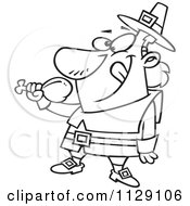 Cartoon Of An Outlined Hungry Thanksgiving Pilgrim Eating A Drumstick Royalty Free Vector Clipart
