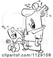 Cartoon Of An Outlined Frustrated Father Crying With His Son Royalty Free Vector Clipart