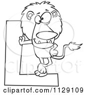Cartoon Of An Outlined Lion Leaning On A Letter L Royalty Free Vector Clipart