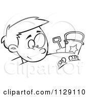 Cartoon Of An Outlined Happy Boy Buried In Beach Sand Royalty Free Vector Clipart