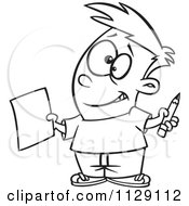 Cartoon Of An Outlined Happy Boy Holding A Sheet Of Paper And A Pencil Royalty Free Vector Clipart