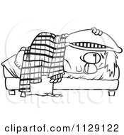 Cartoon Of An Outlined Tired Boy Lying In Bed With A Pillow Over His Head Royalty Free Vector Clipart