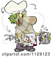 Cartoon Of A Stinky Chef Serving A Gross Stew Royalty Free Vector Clipart