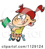 Cartoon Of A Girl Cutting With Scissors Royalty Free Vector Clipart by Ron Leishman